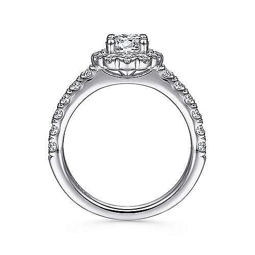 Rosalyn 14k White Gold Round Halo Engagement Ring angle 2
