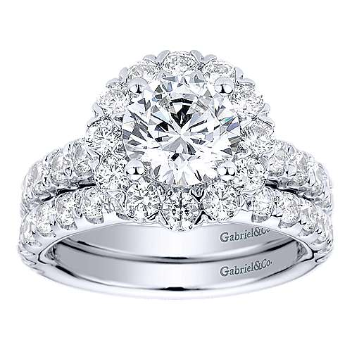 Rosalyn 14k White Gold Round Halo Engagement Ring angle 4