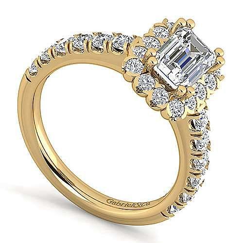 Rosalyn 14k Yellow Gold Emerald Cut Halo Engagement Ring angle 3