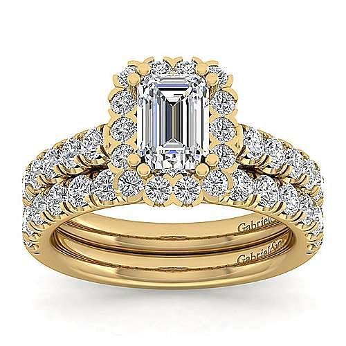 Rosalyn 14k Yellow Gold Emerald Cut Halo Engagement Ring angle 4