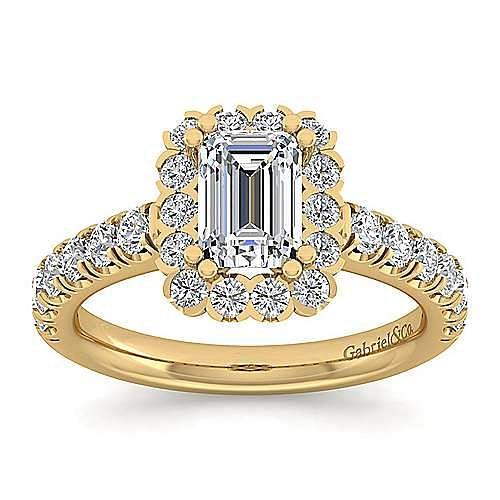 Rosalyn 14k Yellow Gold Emerald Cut Halo Engagement Ring angle 5
