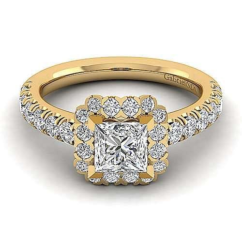 Rosalyn 14k Yellow Gold Princess Cut Halo Engagement Ring angle 1