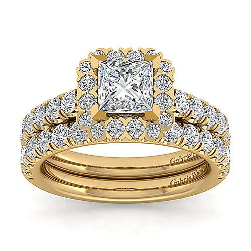 Rosalyn 14k Yellow Gold Princess Cut Halo Engagement Ring angle 4