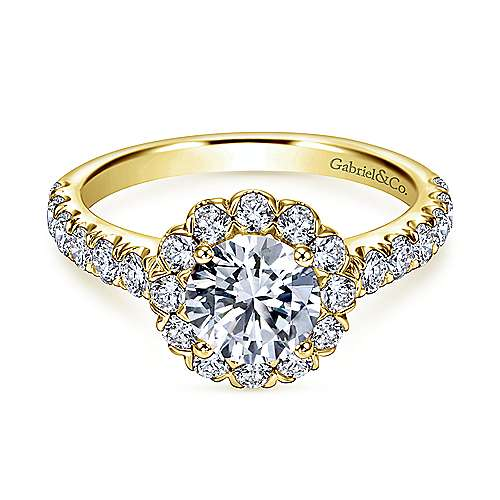 Rosalyn 14k Yellow Gold Round Halo Engagement Ring angle 1