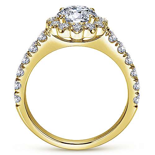 Rosalyn 14k Yellow Gold Round Halo Engagement Ring angle 2