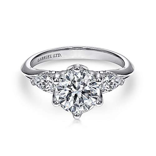 Rosario 18k White Gold Round 3 Stones Engagement Ring angle 1