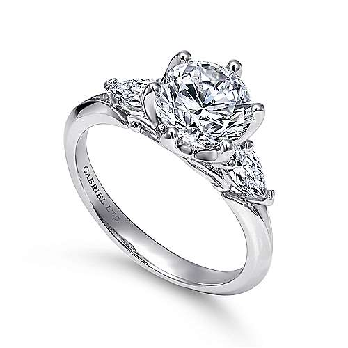 Rosario 18k White Gold Round 3 Stones Engagement Ring angle 3