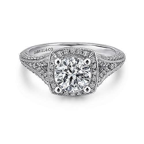 Gabriel - Rose 14k White Gold Round Halo Engagement Ring