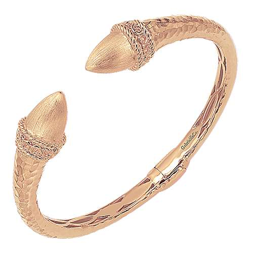 Rose Plated 925 Silver Open Hinged Bangle