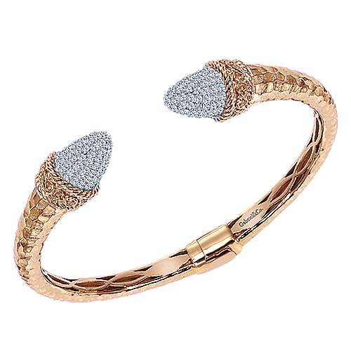 Rose Plated 925 Silver White Sapphire Pavé Open Hinged Bangle