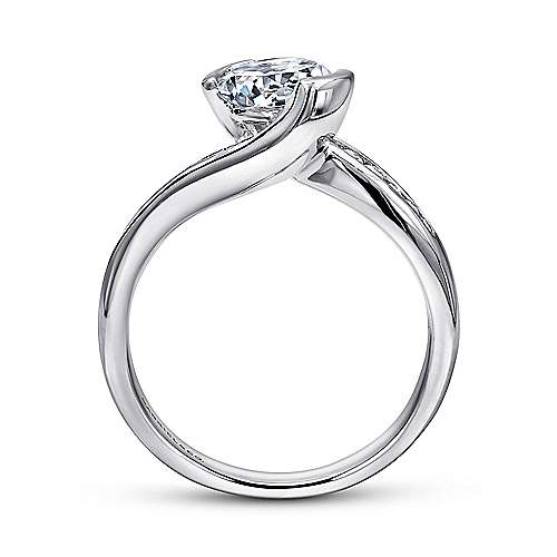 Roshana 14k White Gold Round Bypass Engagement Ring angle 2