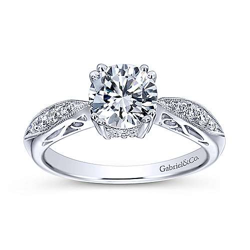 Roslyn 14k White Gold Round Straight Engagement Ring angle 5