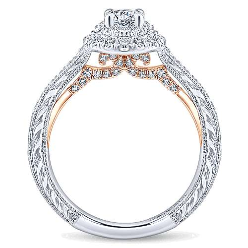 Rosy 14k White And Rose Gold Round Double Halo Engagement Ring angle 2