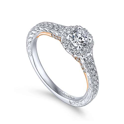 Rosy 14k White And Rose Gold Round Halo Engagement Ring angle 3