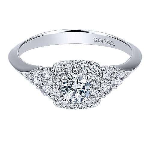 Gabriel - Rouge 14k White Gold Round Halo Engagement Ring