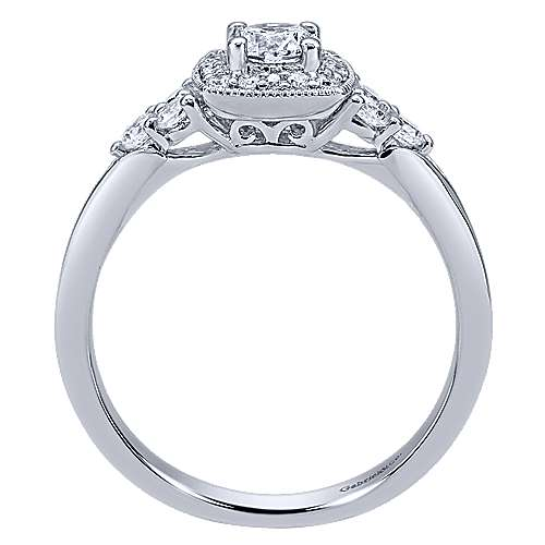 Rouge 14k White Gold Round Halo Engagement Ring angle 2