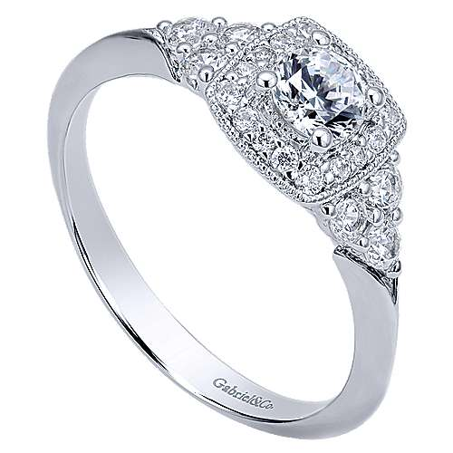 Rouge 14k White Gold Round Halo Engagement Ring angle 3