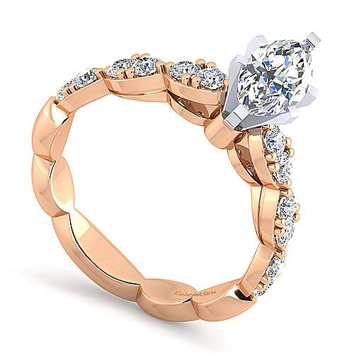 Rowan 14k White And Rose Gold Marquise  Straight Engagement Ring angle 3