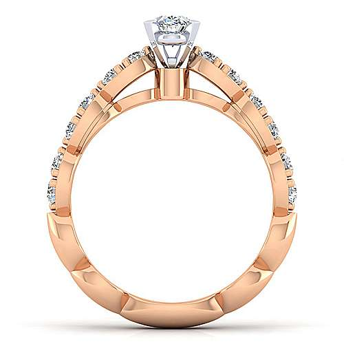 Rowan 14k White And Rose Gold Oval Straight Engagement Ring angle 2