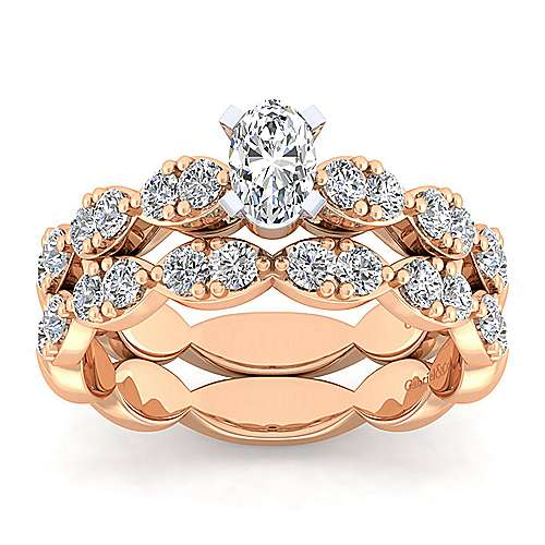 Rowan 14k White And Rose Gold Oval Straight Engagement Ring angle 4