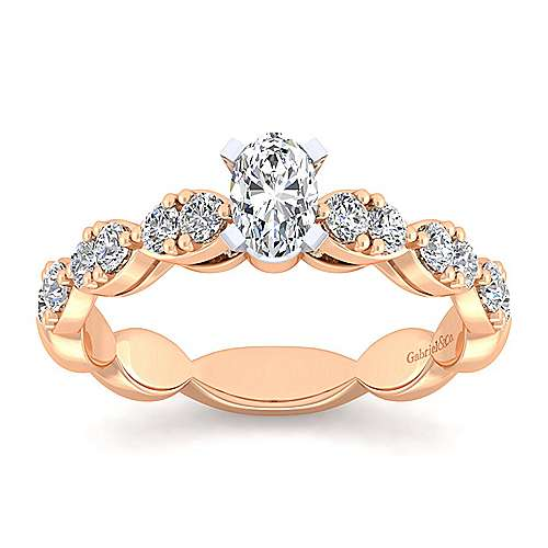 Rowan 14k White And Rose Gold Oval Straight Engagement Ring angle 5