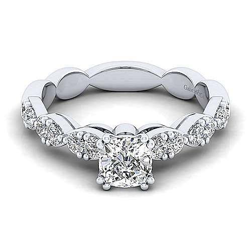 Gabriel - Rowan 14k White Gold Cushion Cut Straight Engagement Ring