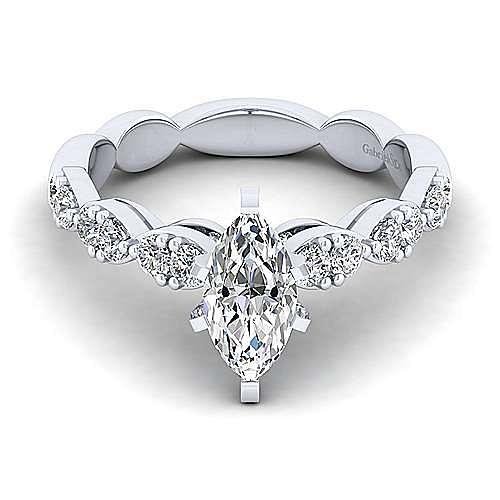 Gabriel - Rowan 14k White Gold Marquise  Straight Engagement Ring