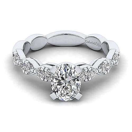 Gabriel - Rowan 14k White Gold Oval Straight Engagement Ring
