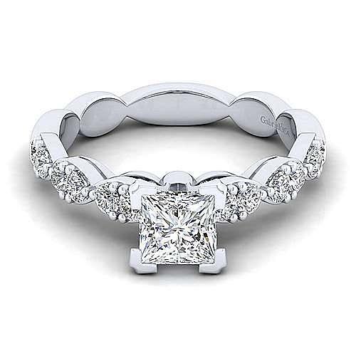 Gabriel - Rowan 14k White Gold Princess Cut Straight Engagement Ring
