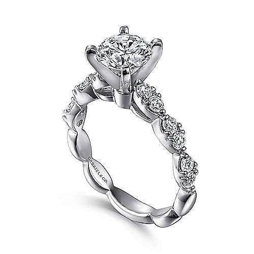 Rowan 14k White Gold Round Straight Engagement Ring angle 3