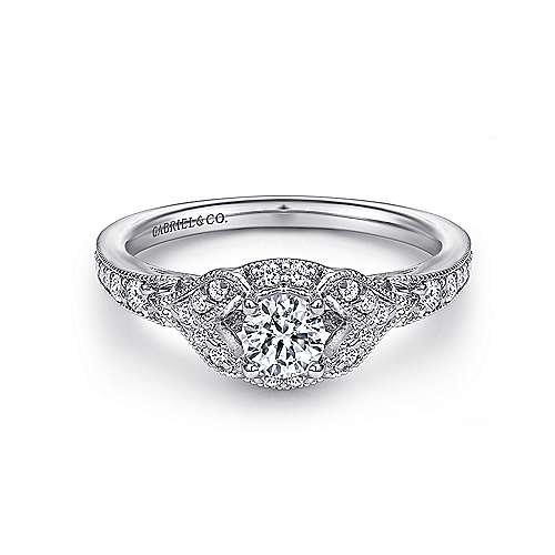 Gabriel - Roxy 14k White Gold Round Halo Engagement Ring