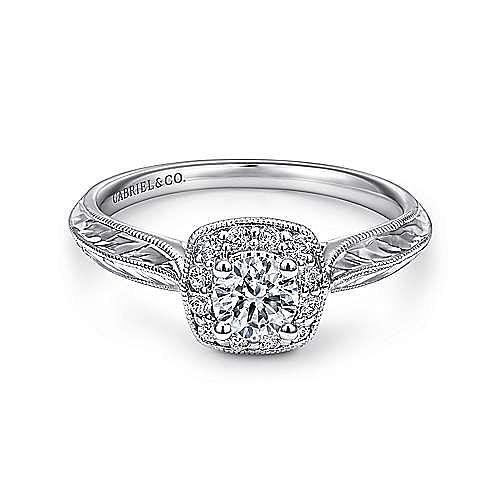 Royal 14k White Gold Round Halo Engagement Ring angle 1