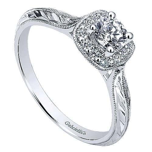 Royal 14k White Gold Round Halo Engagement Ring angle 3