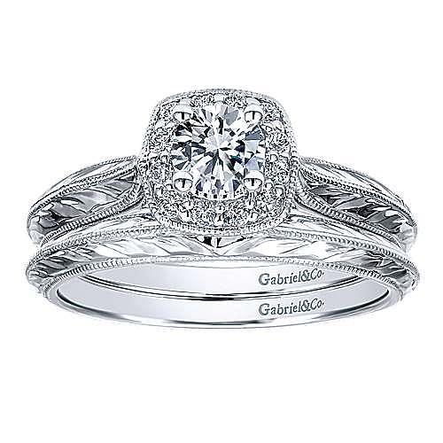 Royal 14k White Gold Round Halo Engagement Ring angle 4