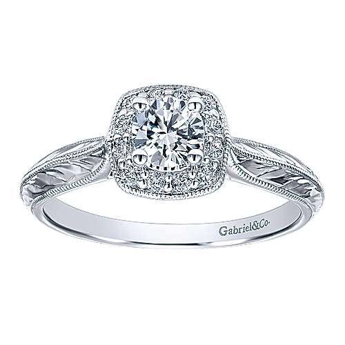 Royal 14k White Gold Round Halo Engagement Ring angle 5