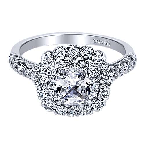 Gabriel - Rumi 18k White Gold Cushion Cut Double Halo Engagement Ring