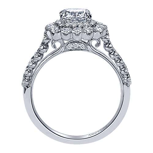Rumi 18k White Gold Cushion Cut Double Halo Engagement Ring angle 2