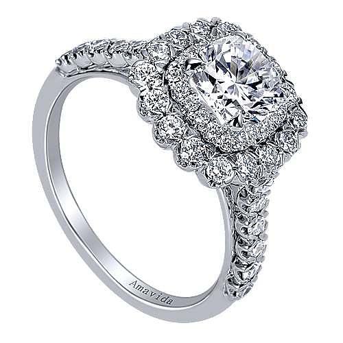 Rumi 18k White Gold Cushion Cut Double Halo Engagement Ring angle 3