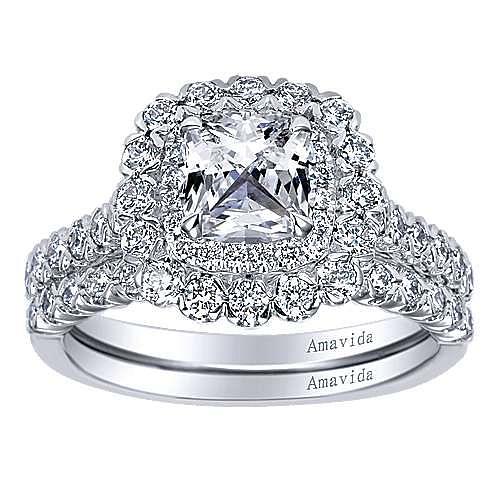 Rumi 18k White Gold Cushion Cut Double Halo Engagement Ring angle 4