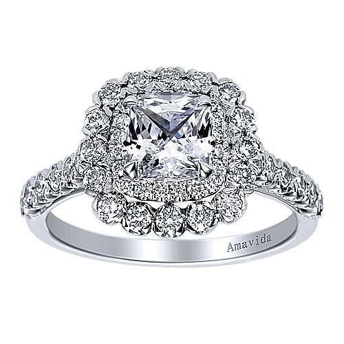 Rumi 18k White Gold Cushion Cut Double Halo Engagement Ring angle 5