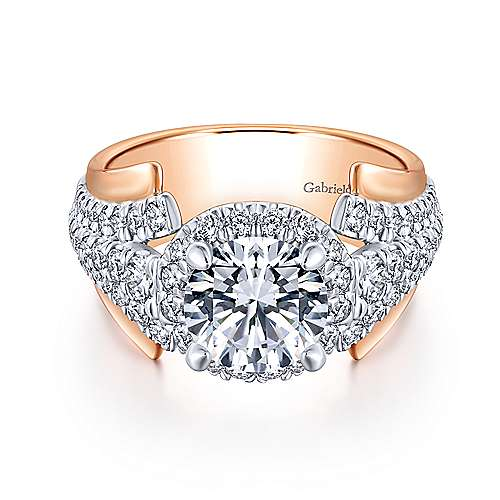 Ruth 18k White And Rose Gold Round Halo Engagement Ring angle 1