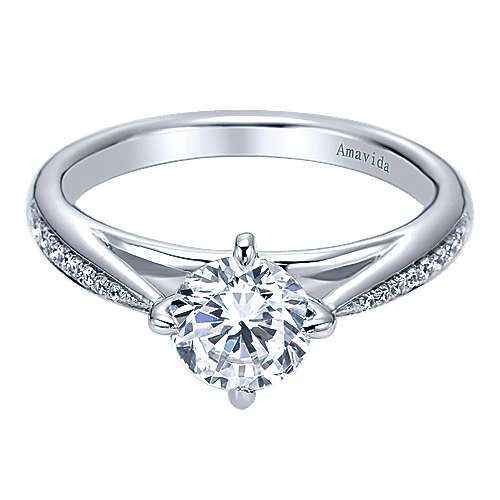 Ryder 18k White Gold Round Straight Engagement Ring angle 1