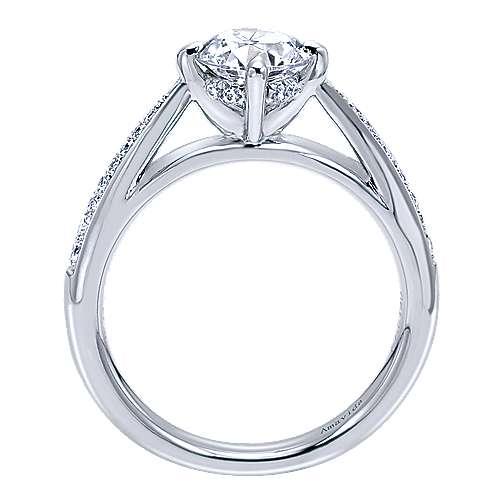 Ryder 18k White Gold Round Straight Engagement Ring angle 2