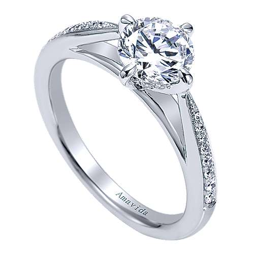 Ryder 18k White Gold Round Straight Engagement Ring angle 3