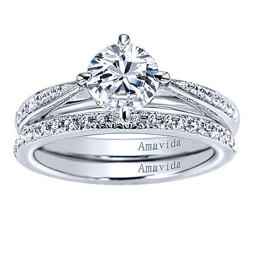 Ryder 18k White Gold Round Straight Engagement Ring angle 4