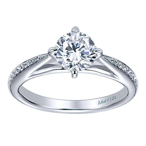 Ryder 18k White Gold Round Straight Engagement Ring angle 5