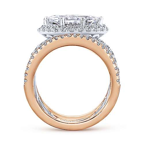 Rynetta 18k White And Rose Gold Marquise  Halo Engagement Ring angle 2