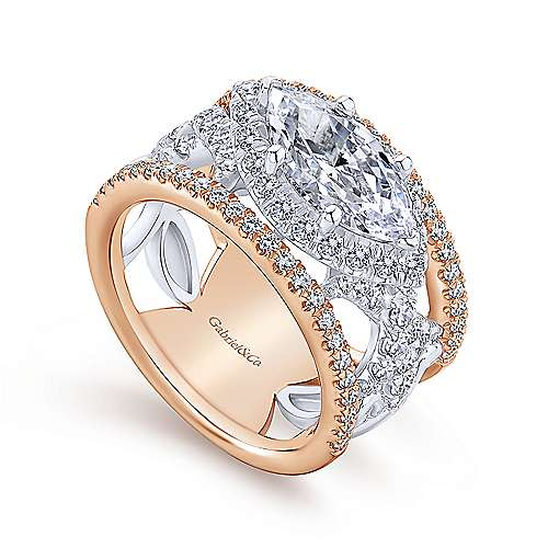 Rynetta 18k White And Rose Gold Marquise  Halo Engagement Ring angle 3