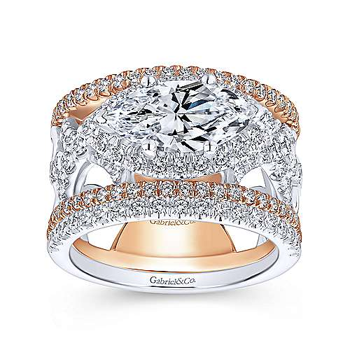 Rynetta 18k White And Rose Gold Marquise  Halo Engagement Ring angle 4