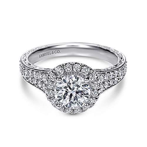Gabriel - Sabina 14k White Gold Round Halo Engagement Ring